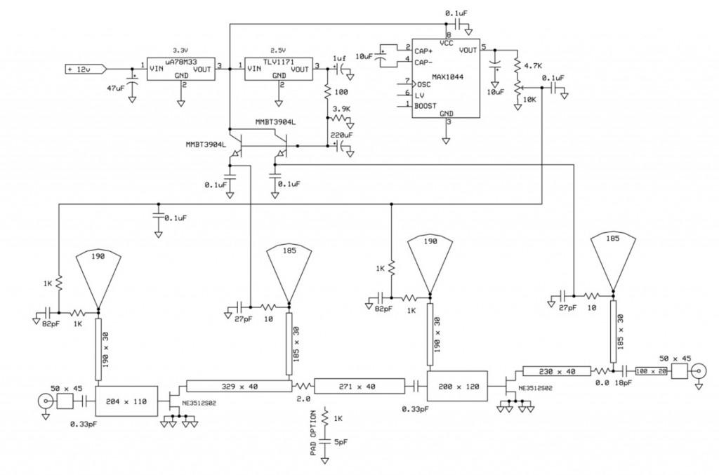 Two-stage 10 GHz LNA schematic