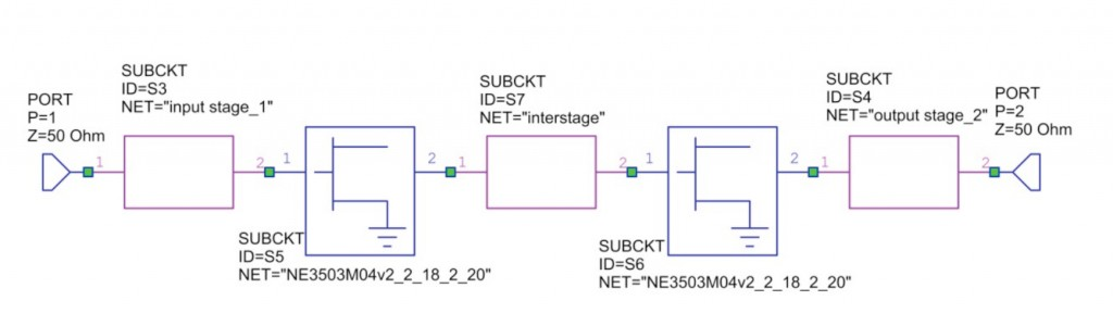 LNA RF circuit cascade