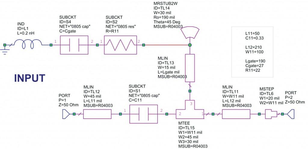 LNA input RF circuit