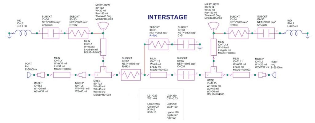 LNA interstage RF circuit