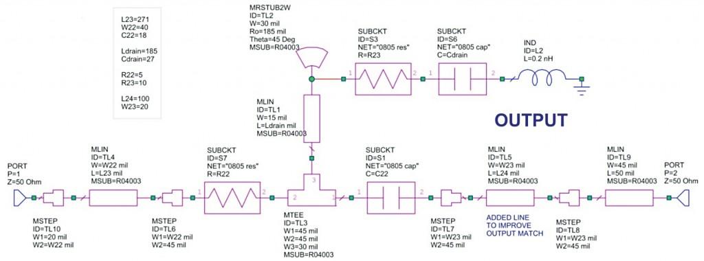 LNA output RF circuit