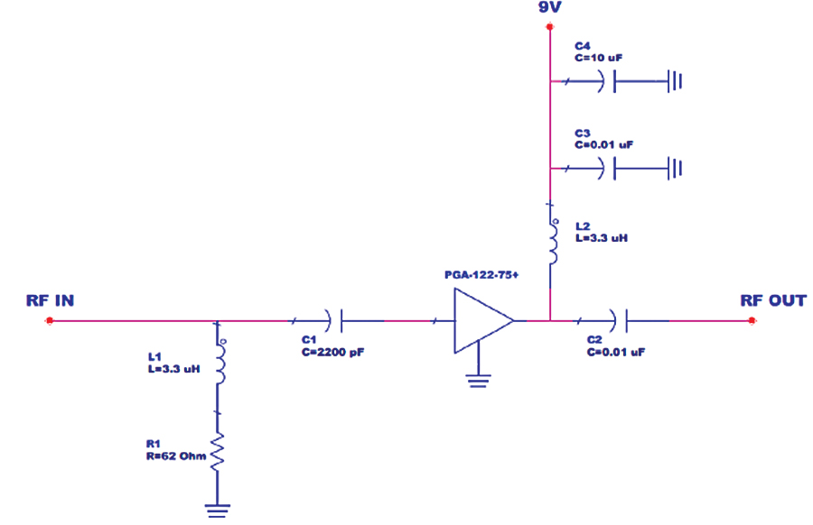 Figure 3: Application circuit for PGA-122-75+ in CATV upstream bandwidth