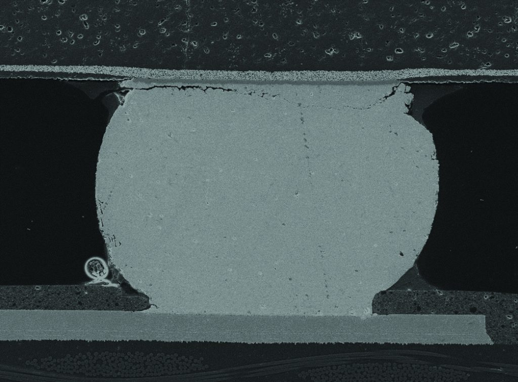 SEM image of cross-section of failed BGA ball