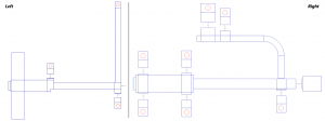 Figure 10: Left: Initial hybrid microstrip / lumped-element output-matching network created in ADW. Right: Final output matching network after decoupling elements, optimization, and layout manipulation is complete.