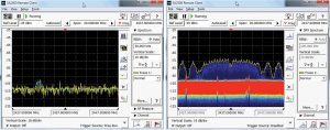 A real-time spectrum analyzer display