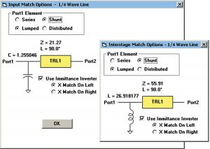 Figure 4: LINC2 port and interstage matching details